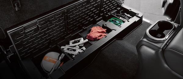 2021 Nissan Titan lockable rear seat cargo organizer