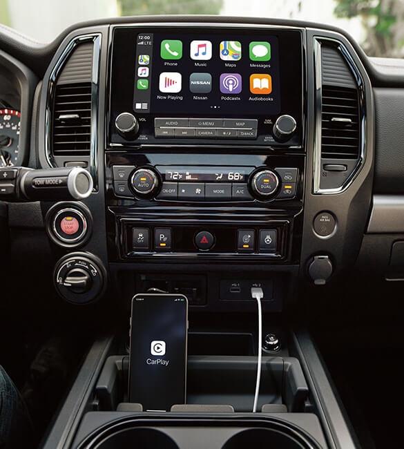 2021 Nissan Titan center console smartphone holder