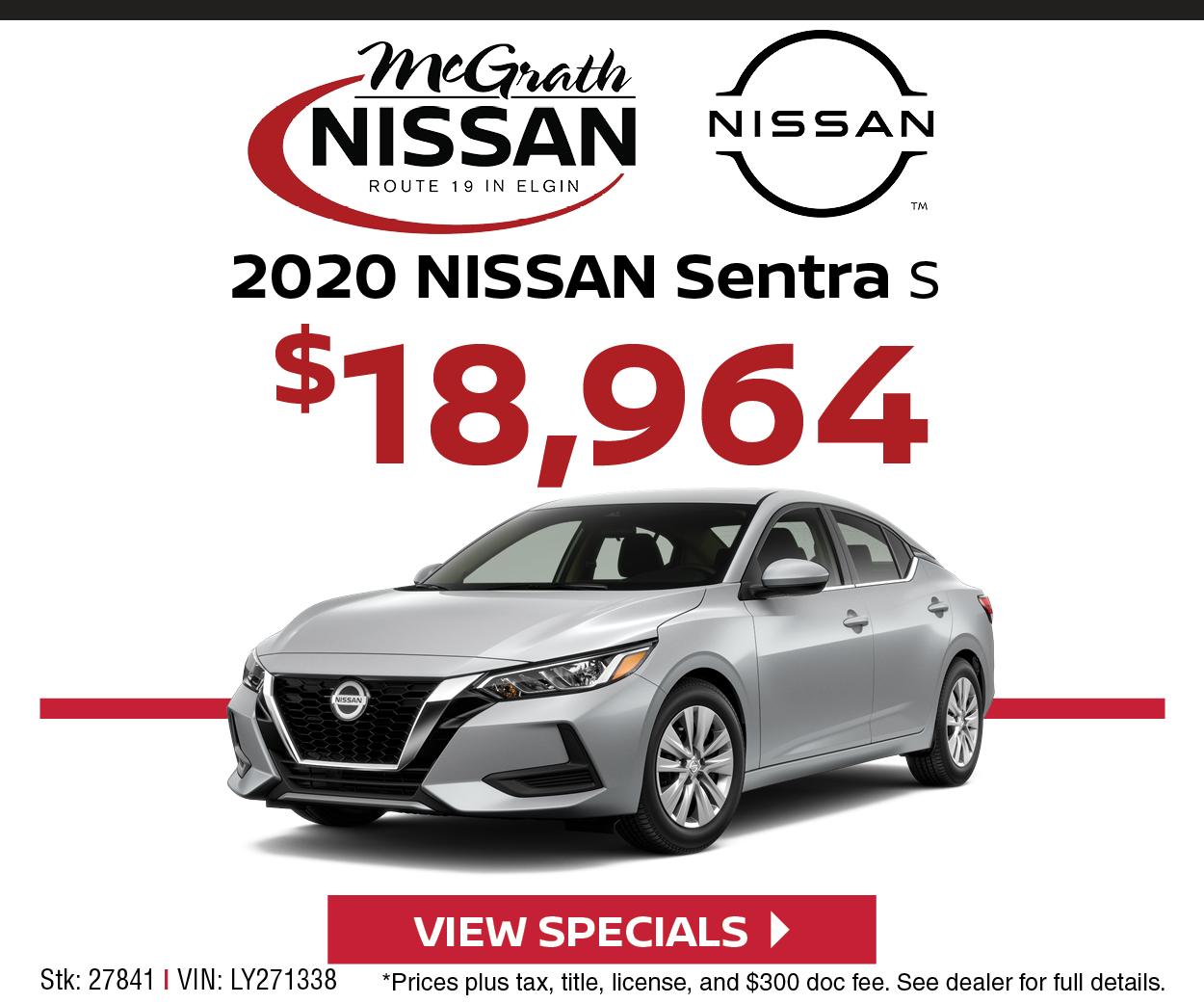 2020 Nissan Sentra S $18,964
