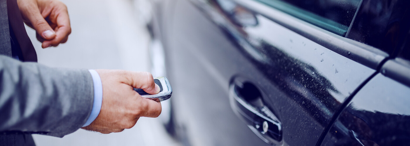 Man opening car with key fob