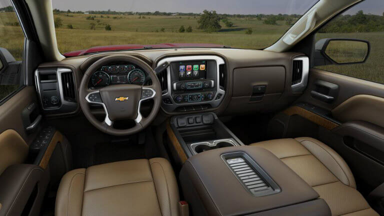 2017 Chevy Silverado with Cocoa/Dune with Perforated Leather Appointed Seat Trim