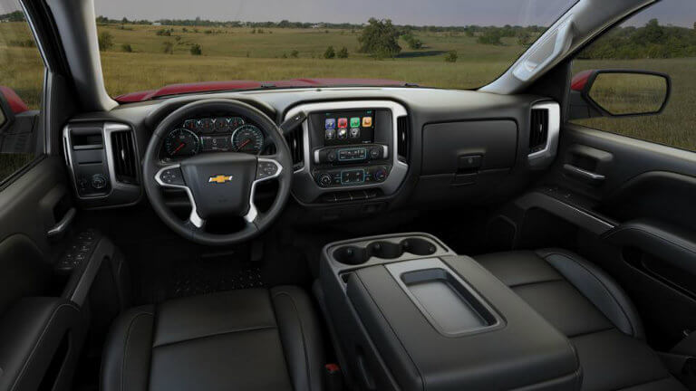 2017 Chevy Silverado with Jet Black with Leather Appointed Seat Trim