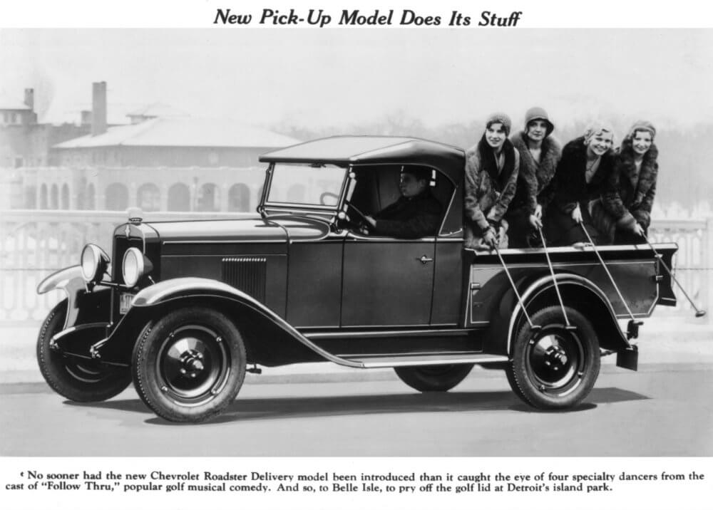 1930 Chevrolet Roadster carrying lady performing golfers