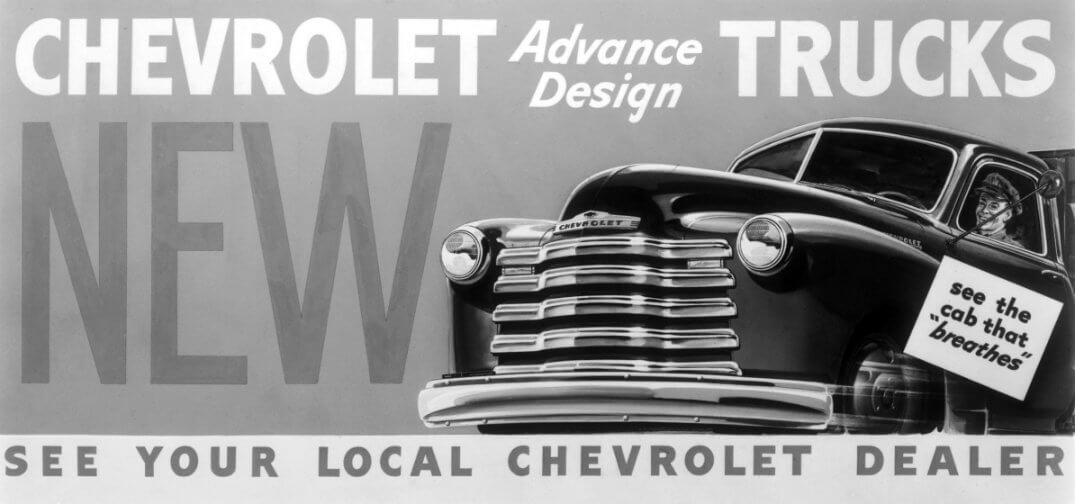 Black and white ad for the Advance Design Chevy truck