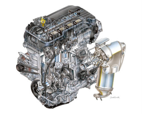 the 1.4-litre Ecotec engine in the 2016 Chevy Cruze, artist's rendition