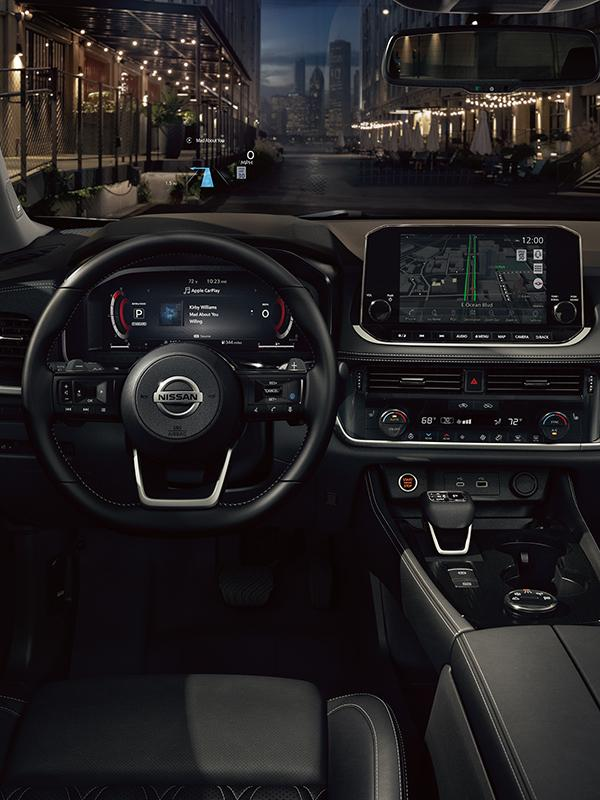 Interior view of the Nissan Rogue driver's seat.