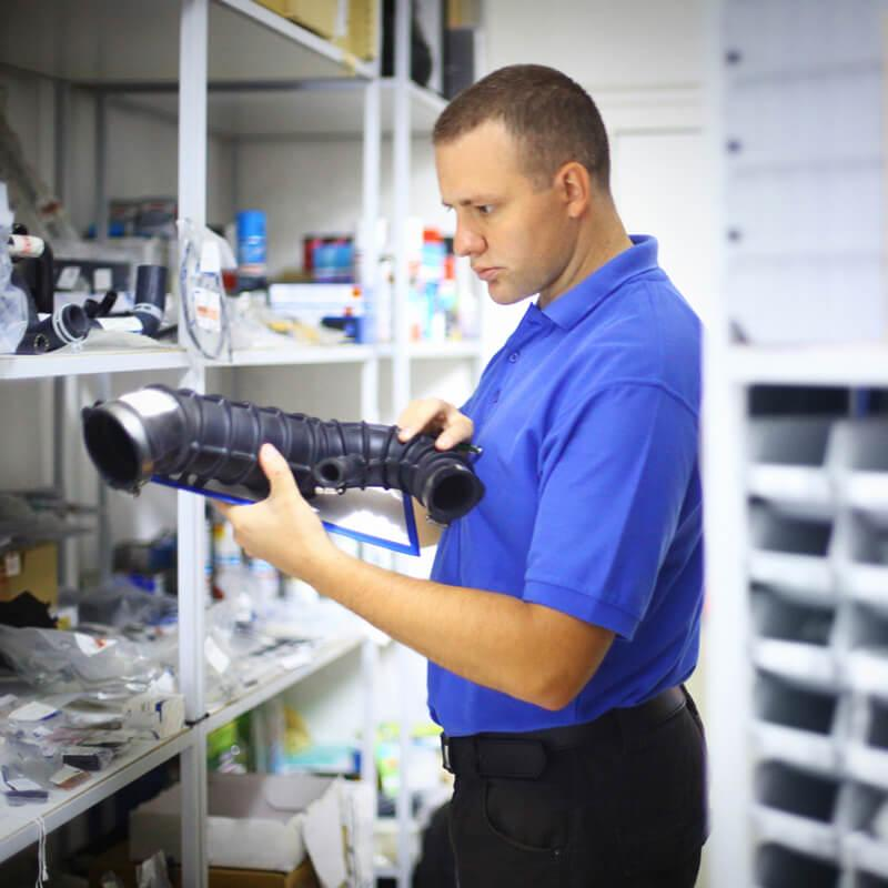 Parts advisor in a stock room