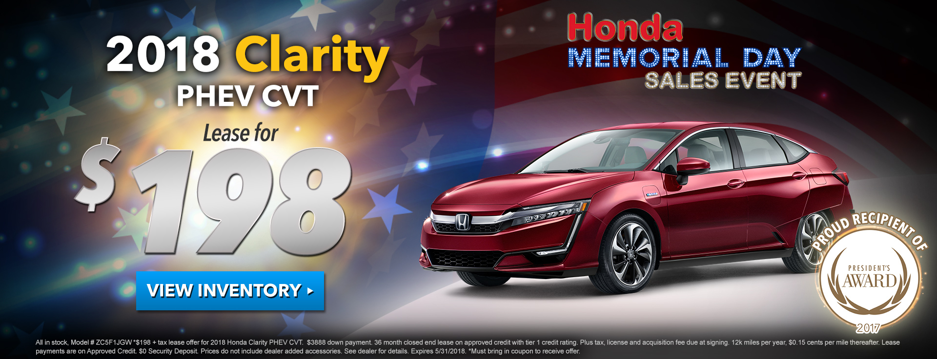 Honda Clarity $198 Lease