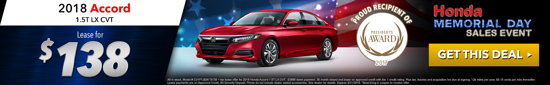 Honda Accord $138 Lease