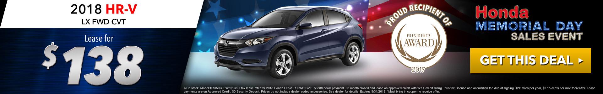 Honda HR-V $138 Lease