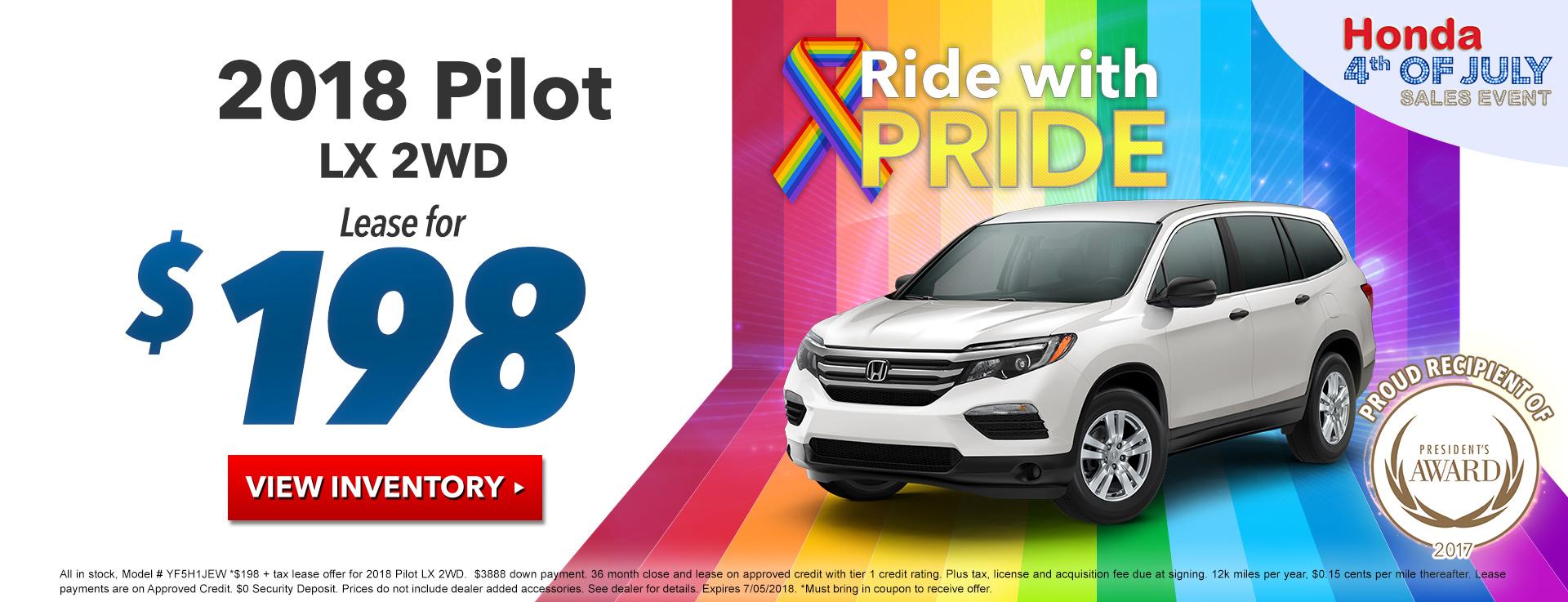 Honda Pilot $198 Lease