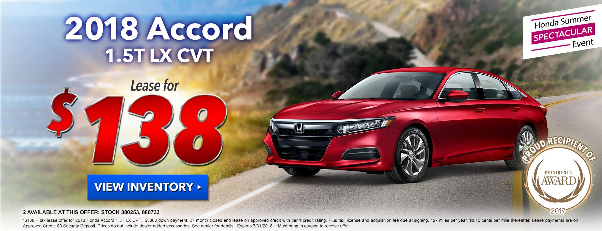 Honda Accord Sedan $138 Lease