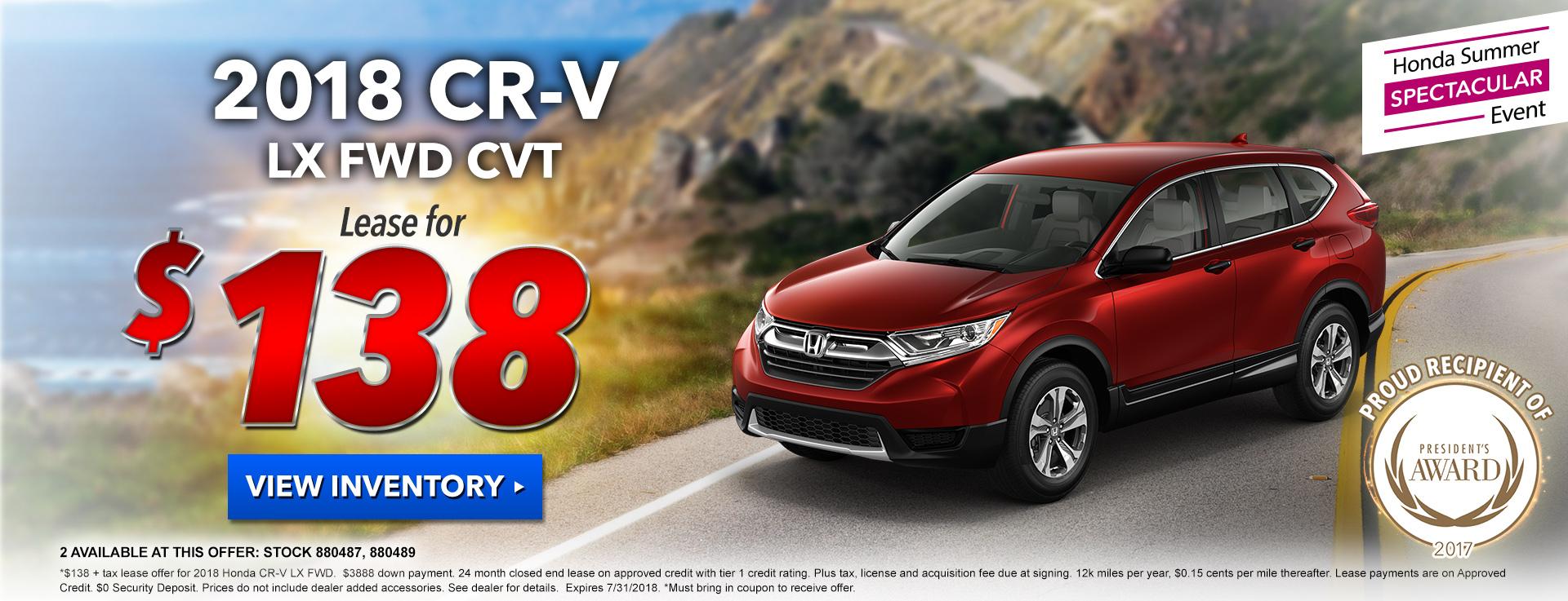 Honda CR-V $138 Lease