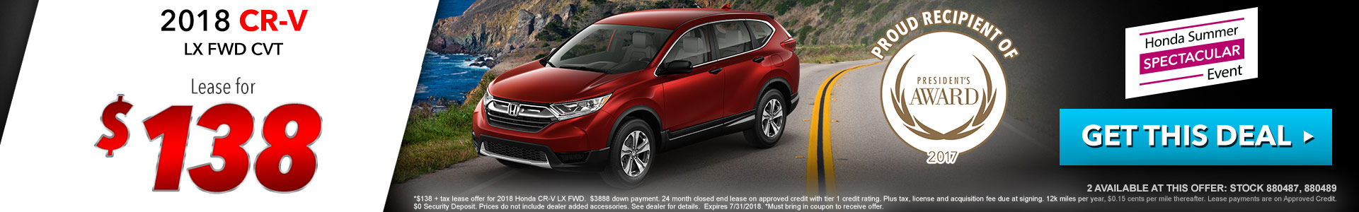 Honda CR-V $138 Lease
