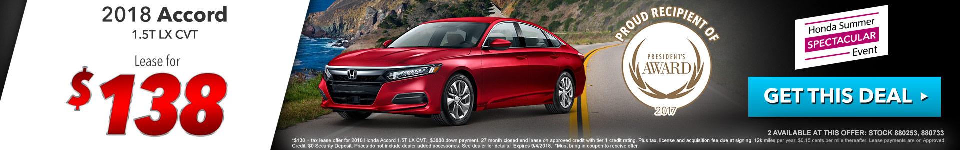 Honda Accord $138 Lease