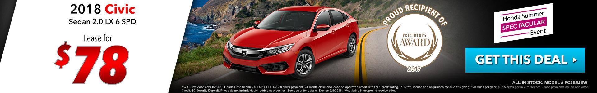 Honda Civic Sedan $78 Lease