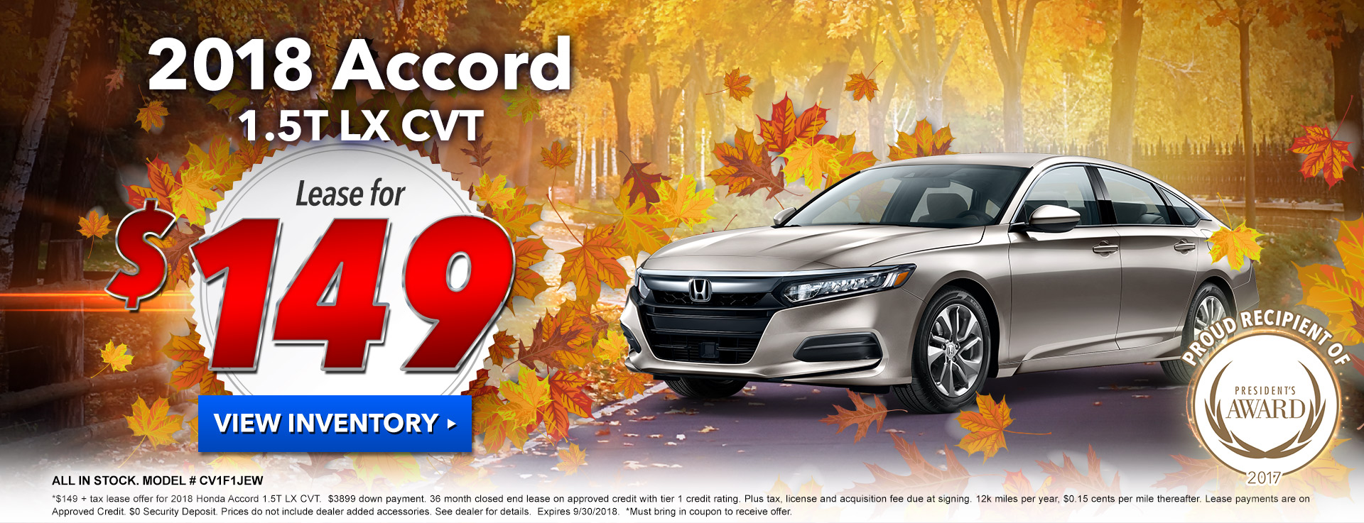 Honda Accord Sedan $149 Lease