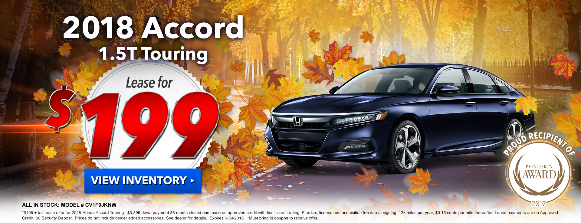 Honda Accord Touring $199 Lease