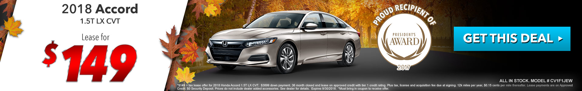 Honda Accord $149 Lease