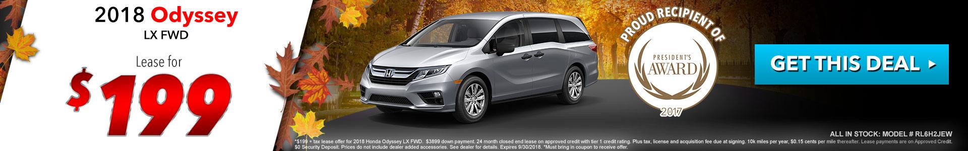 Honda Odyssey $199 Lease