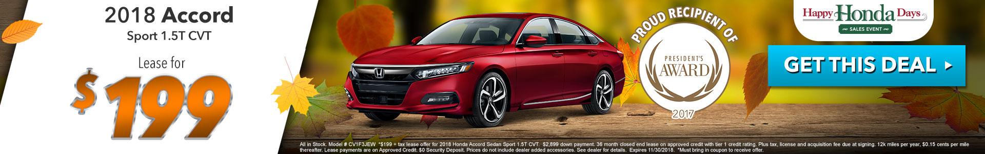Honda Accord Sedan Sport $199 Lease