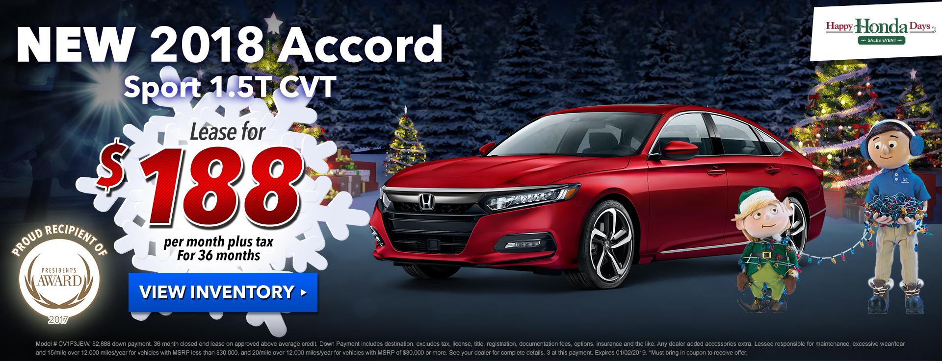 Honda Accord Sedan Sport $178 Lease