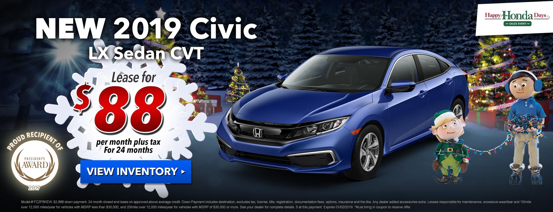 Honda Civic Sedan $88 Lease