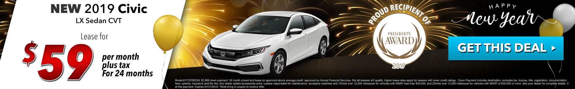 Honda Civic Sedan $59 Lease