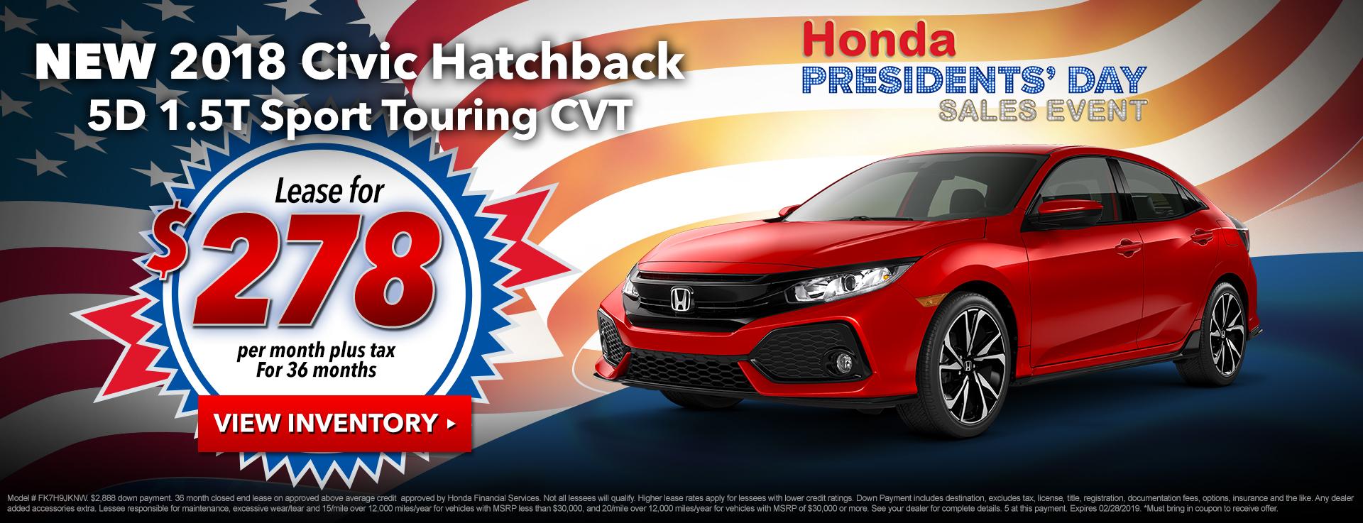 Civic Hatchback $278 Lease