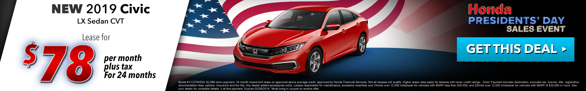 Honda Civic Sedan $78 Lease