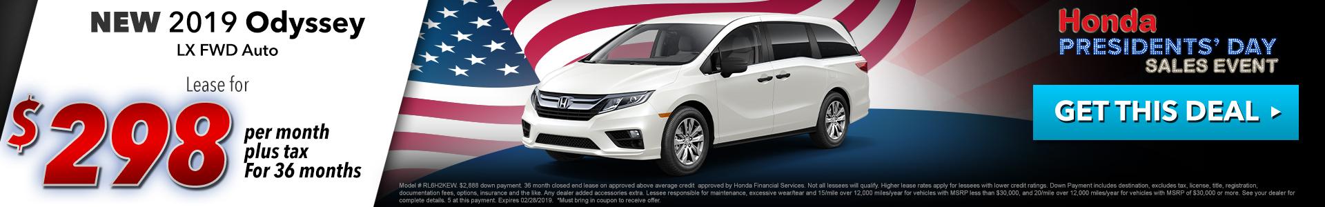 Honda Odyssey $298 Lease