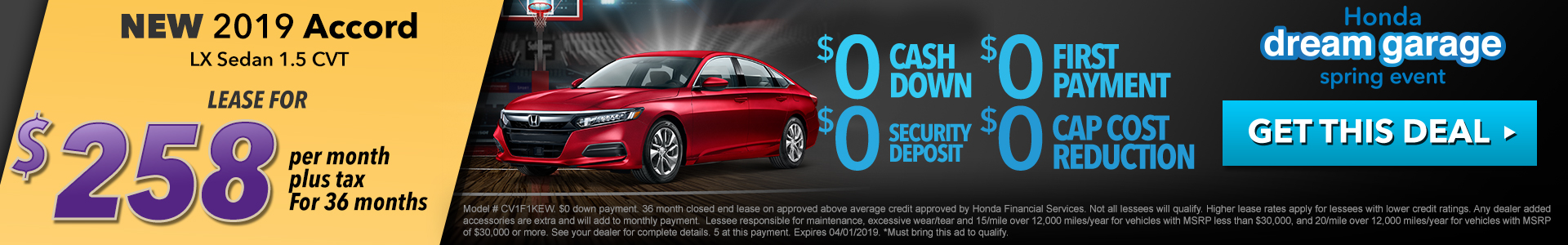 Honda Accord $258 Lease