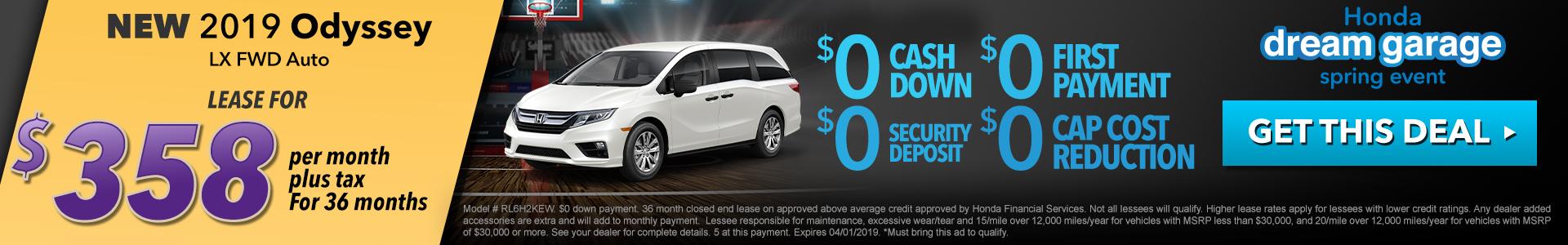 Honda Odyssey $358 Lease