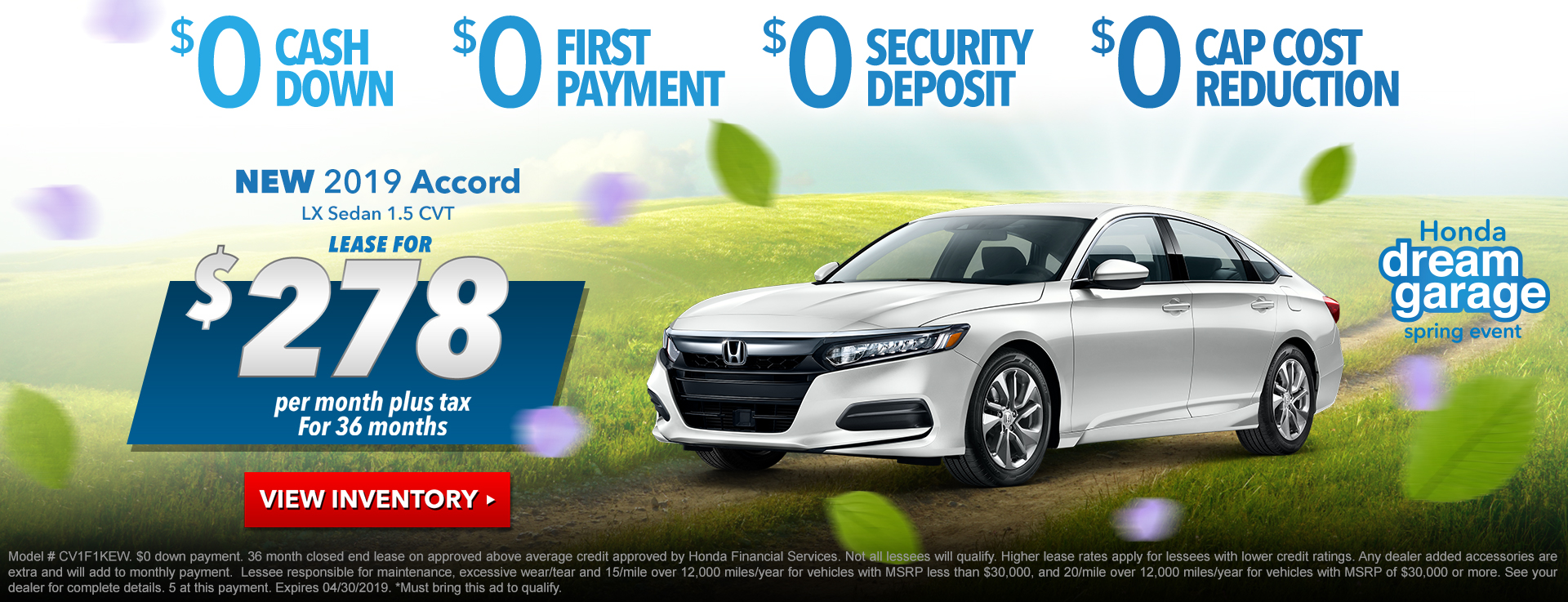 Honda Accord Sedan $278 Lease