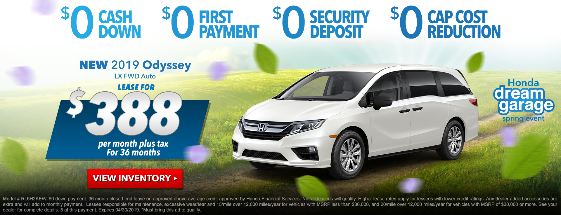 Honda Odyssey $388 Lease