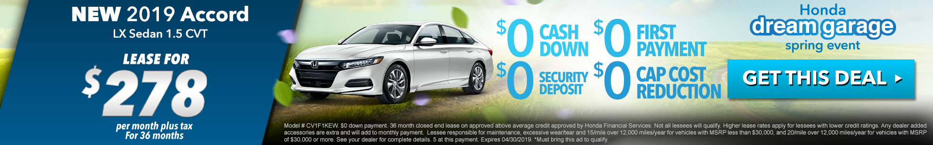 Honda Accord $278 Lease