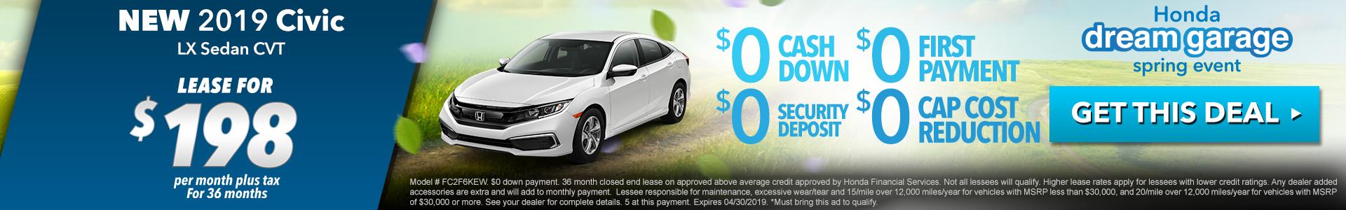 Honda Civic Sedan $198 Lease