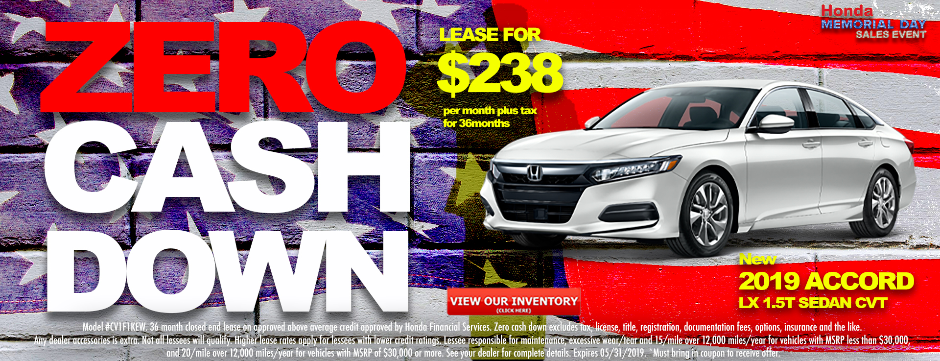 Honda Accord Sedan $238 Lease