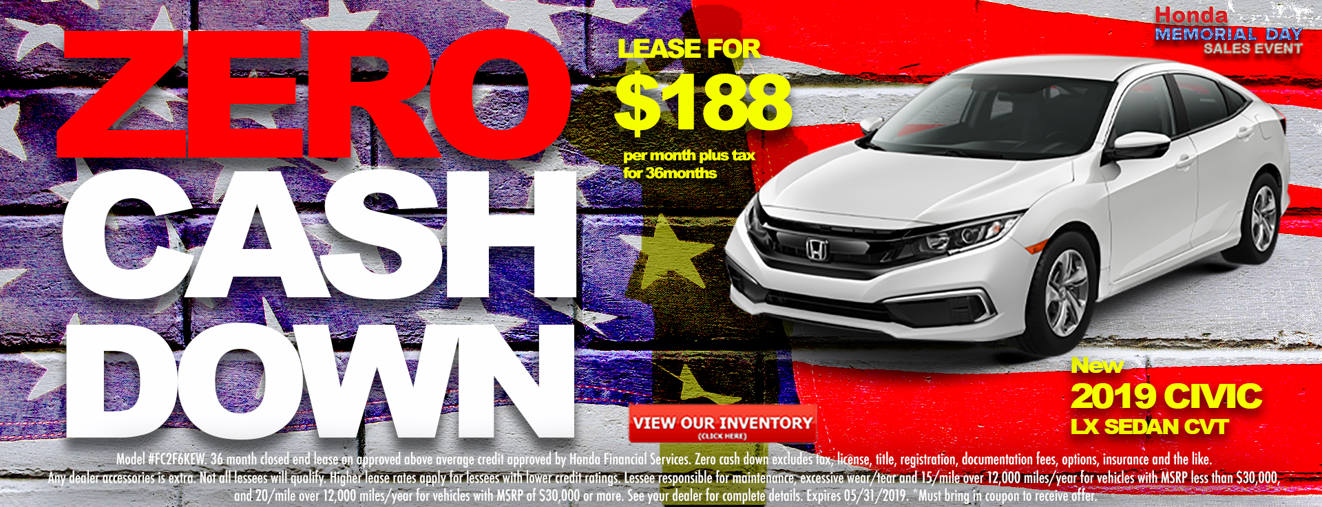 Honda Civic Sedan $188 Lease