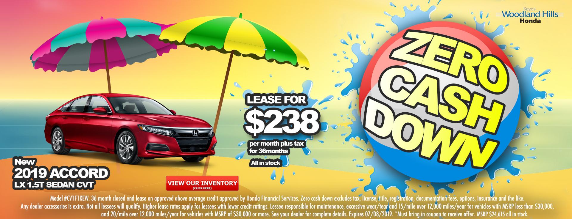 Honda Accord Sedan $238 Lease