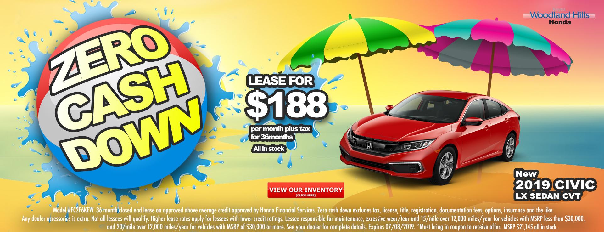 Honda Civic Sedan $188 Lease