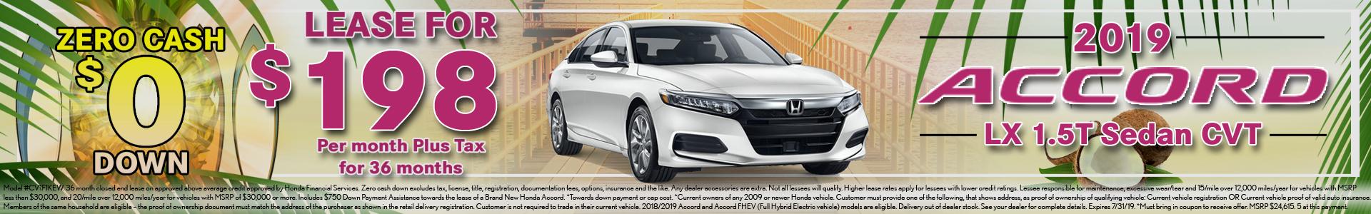 Honda Accord $198 Lease