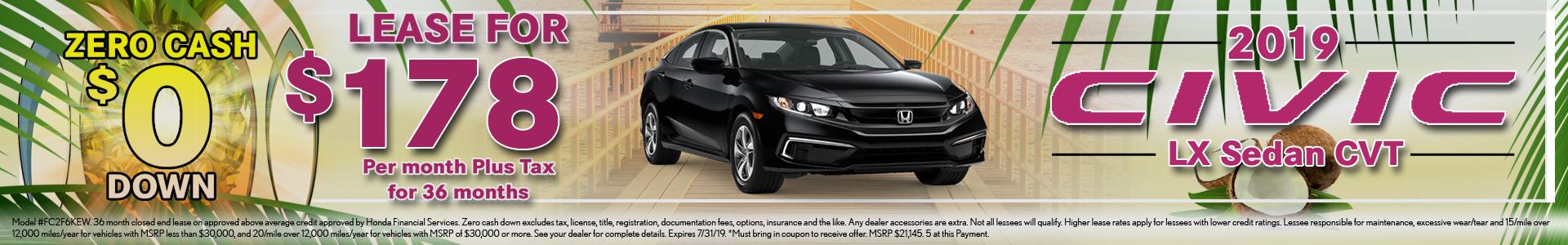 Honda Civic Sedan $178 Lease