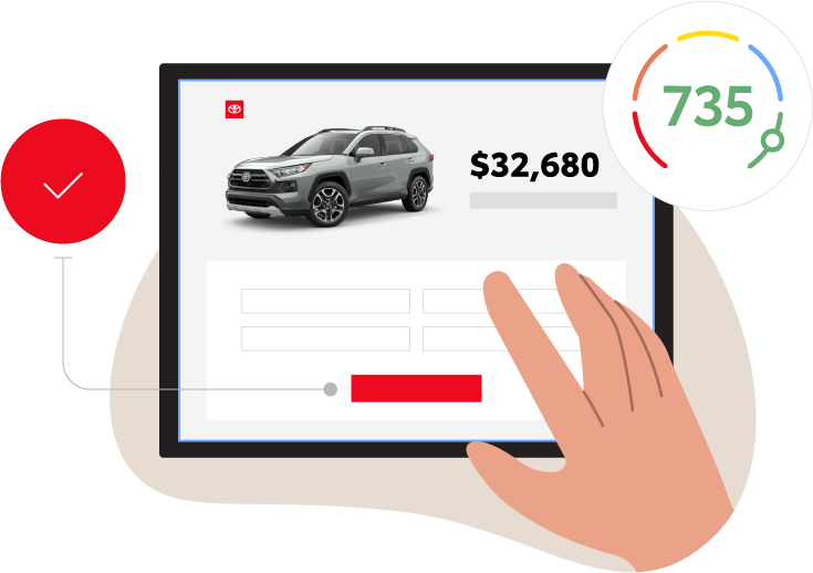 Illustration of Tablet Displaying Vehicle Pricing and Credit Score