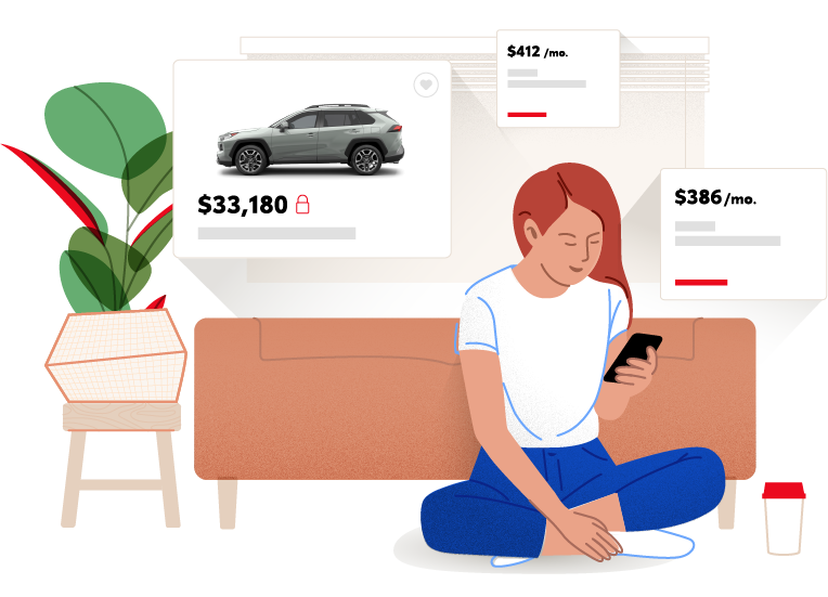 Illustration of Woman Auto Shopping on Phone