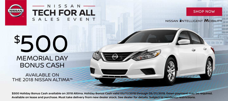 2018 Nissan Altima $500 Bonus Cash