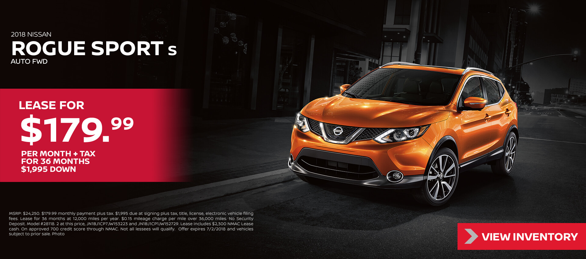 2018 Nissan Rogue Sport Lease