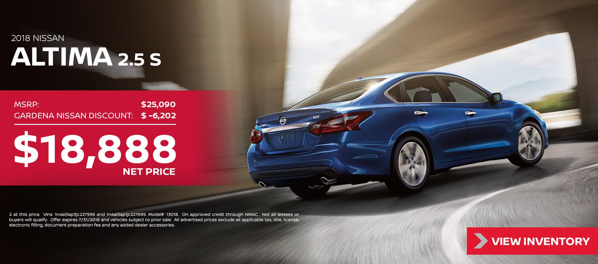 2018 Nissan Altima $18,888