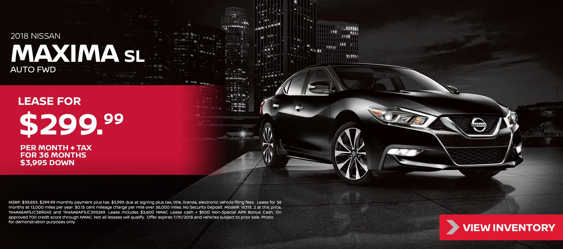 2018 Nissan Maxima $299.99