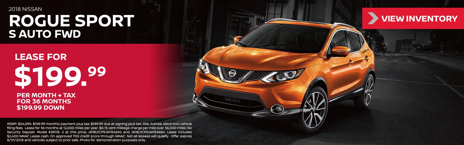 2018 Nissan Rogue Sport $199.99